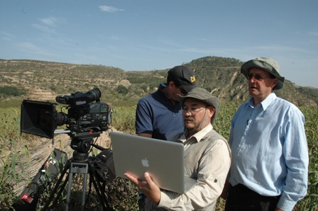 From left to right, cameraman, Curtis Rodda, presenter and scriptwriter, John Liu, and director, Jeremy Bristow, on location in the Shanxi Province.