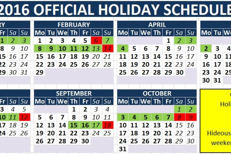 Holiday dates 2016