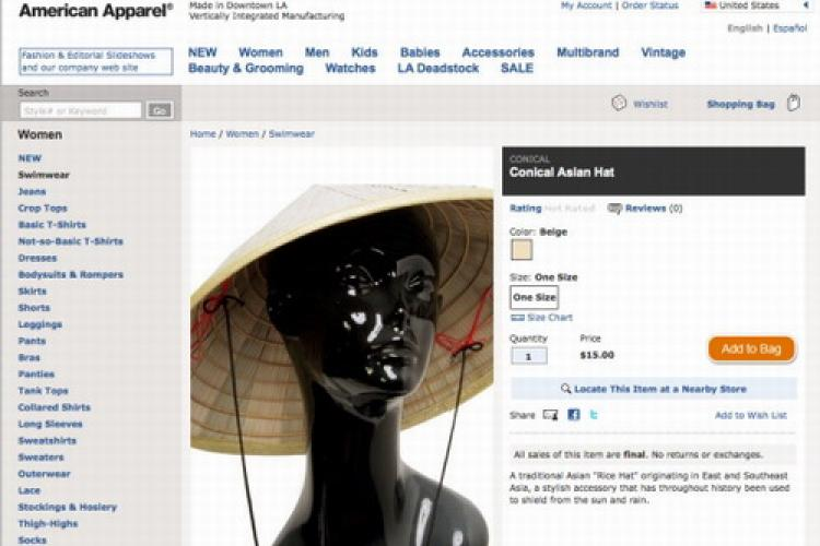 American Apparel Playing the Race Hat