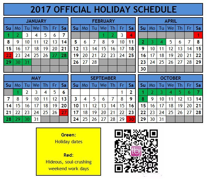 The Official 2017 Holiday Calendar