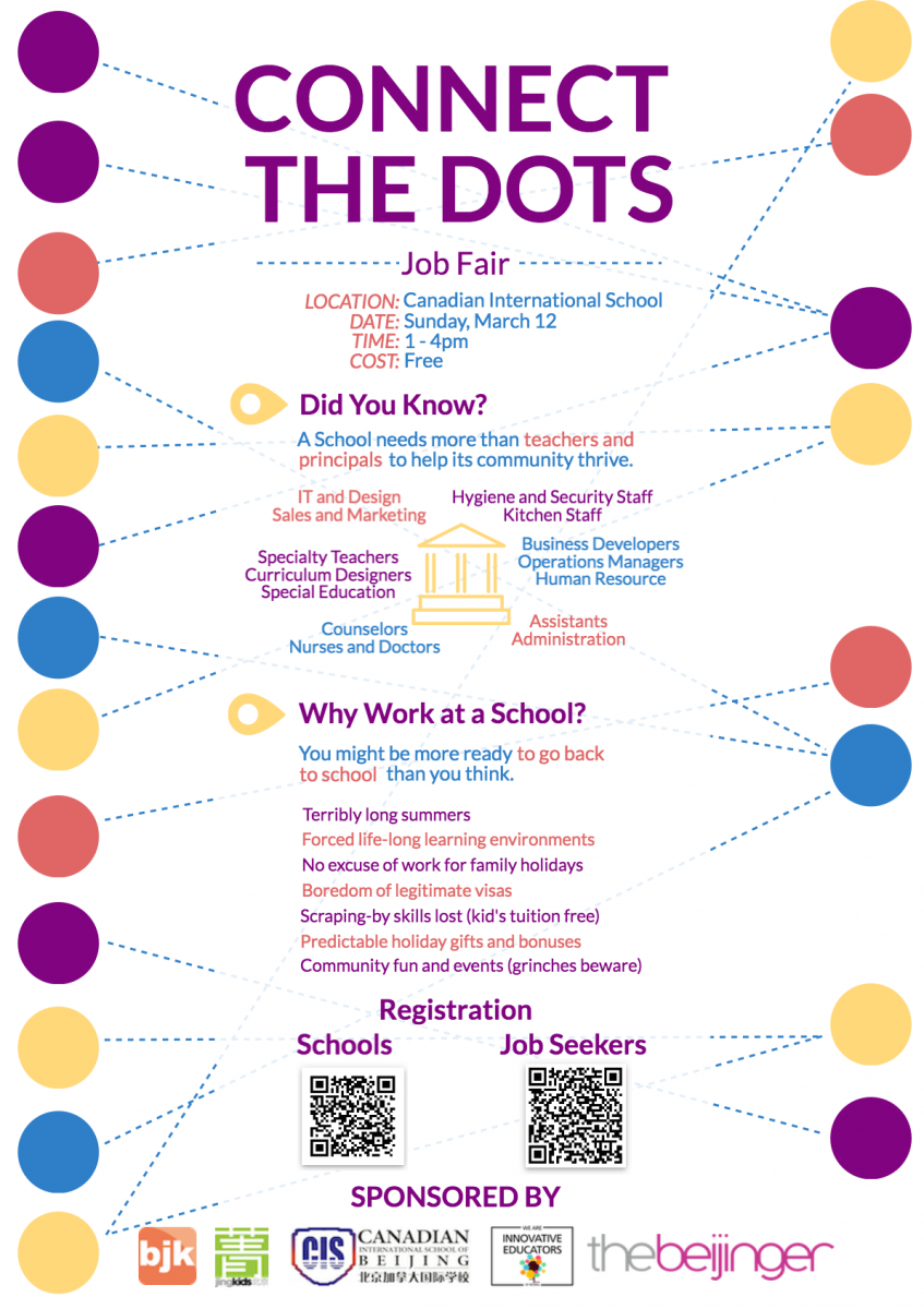 job positions available at connect the dots job fair jobs like these are interesting because of their perks longer summer holidays a life long learning environment and if you ve got kids tuition fees are