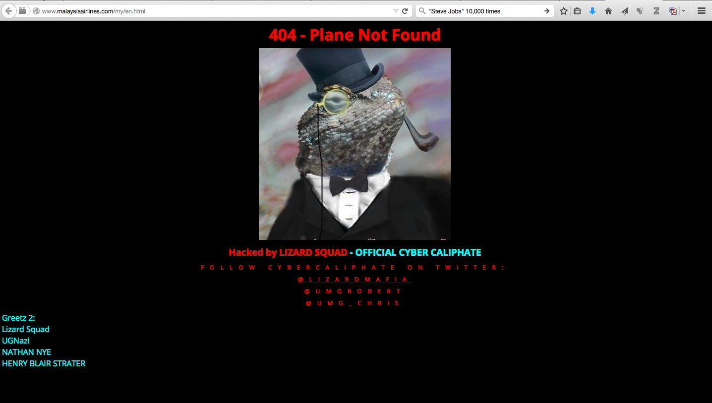 Malaysia Airlines Website Hacked -- '404 - Plane Not Found'