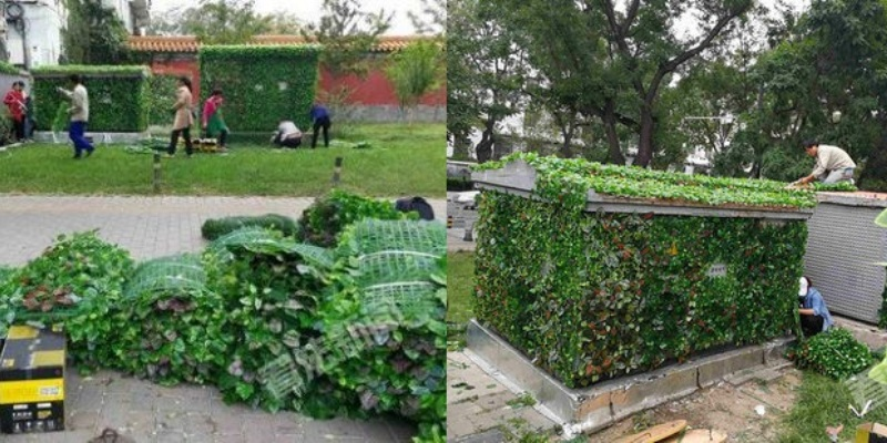 beijing greenifies its parks covering power boxes with fake