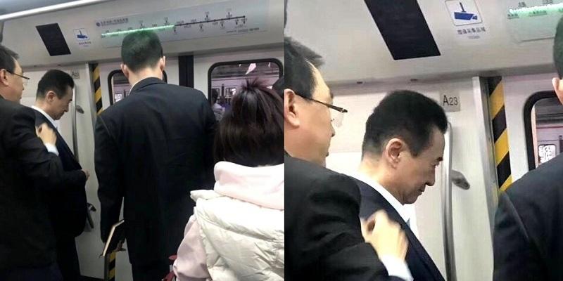 China's Richest Man Wang Jianlin Seen Taking the Beijing Subway