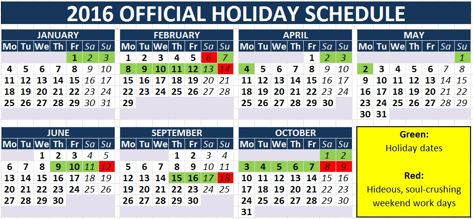 Holiday dates